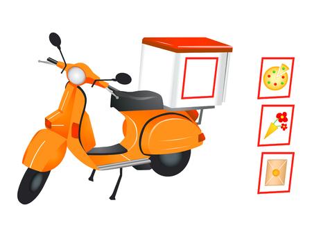 Bezorging scooter voor pizza, bloemen-en pakketdiensten in editeerbare vector