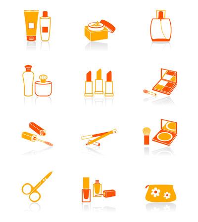 ladenkast: Cosmetica, visage, make-up objecten vector pictogram in oranje Stock Illustratie
