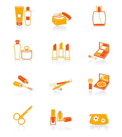 tonal: Cosmetics, visage, make-up objects vector icon set in orange