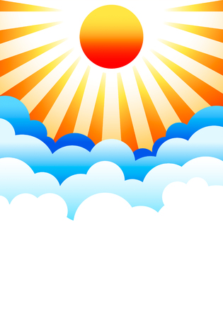 Bright sun rising above stylized blue clouds Stock Vector - 2812571