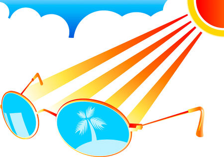 Sun-glasses at the beach interior in stylized vector Vector