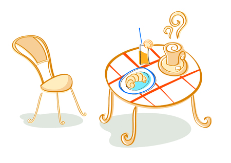 continental food: Vector illustration of french (or continental) breakfast at cafe table Illustration