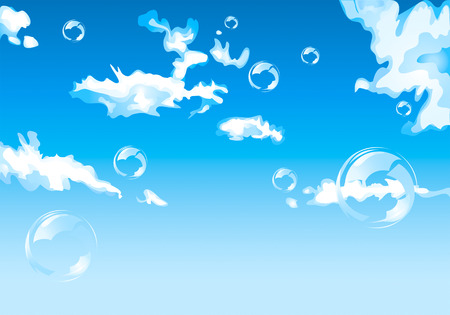 Abstract vector blue sky with clouds and bubbles Vector