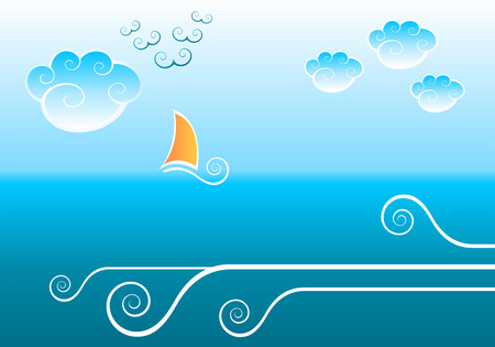 Abstract sea background with clouds, waves and sailing boat Vector