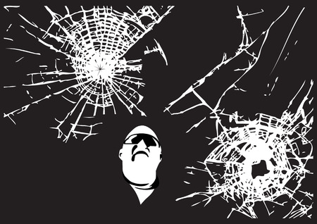 sabotage: Two vector cracked glass patterns with the man looking at (All is editable) Illustration