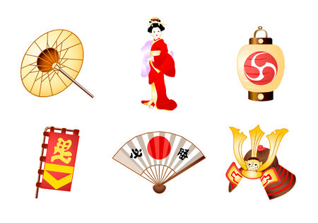 Japanese traditional culture symbols in vector Illustration