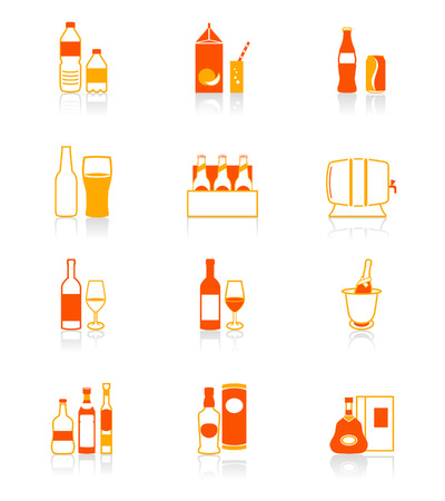 carbonated: Traditional non- and alcoholic drinks vector icon set in red-orange