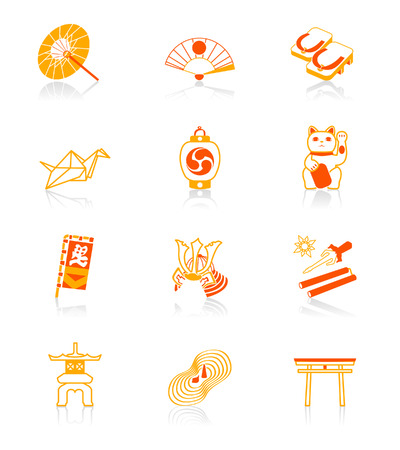 japanese culture: Traditional japanese culture objects vector icon set in red-orange Illustration