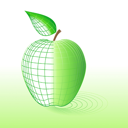 Cyber apple with wireframe. All is editable, it isnt mesh. Vector
