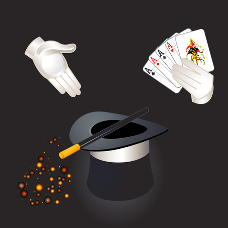 Magician hands with aces and joker, top hat, magic wand and magic dust Vector