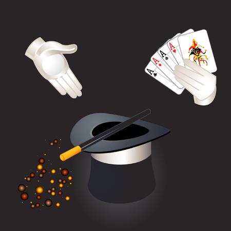 joker: Mago manos con ases y bromista, sombrero de copa, una varita m�gica y la magia de polvo  Vectores