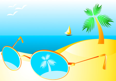 Sun-glasses at the sand of sunny beach interior Vector