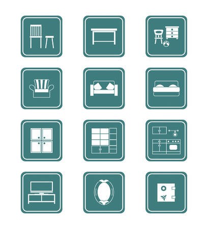 glass shelves: Modern home furniture collection in vector. Illustration