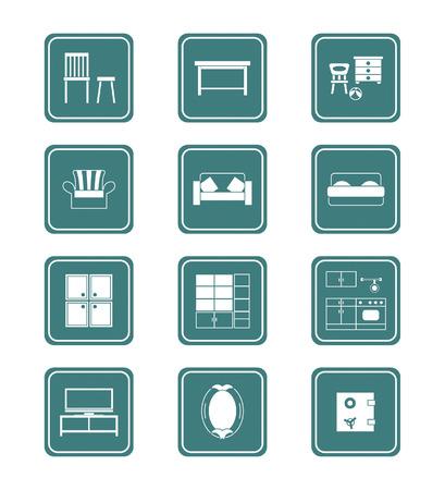 furnishing: Moderne home meubilair collectie in vector.  Stock Illustratie