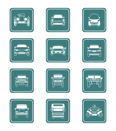 Modern and vintage cars icon front view collection in vector. Vector