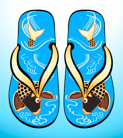 Traditional japanese sandals (geta) with original fish (koi) design