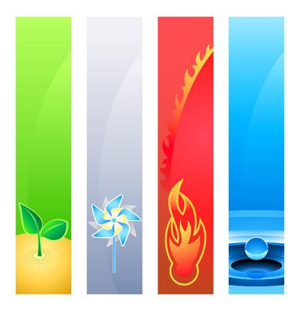 erde gelb: 4 Natur-Element (Erde, Wind, Feuer-, Wasser-) Banner oder Sider Hintergr�nde. Base-Banner Gr��e ist 120x600.  Illustration