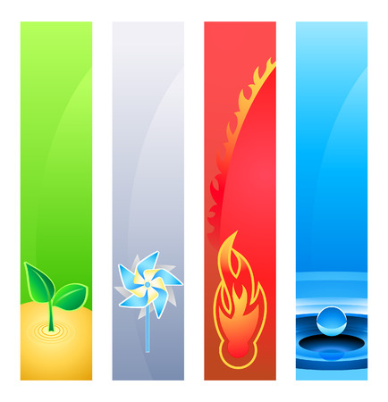Elemento 4 la naturaleza (tierra, viento, fuego, agua) o banner sider antecedentes. Base es el tamaño de banner 120x600.  Ilustración de vector