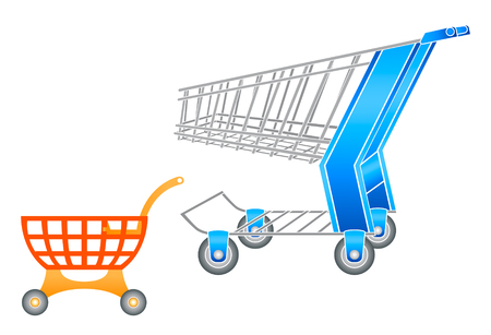 supermarket checkout: Adult and children shopping carts in editable vector Illustration