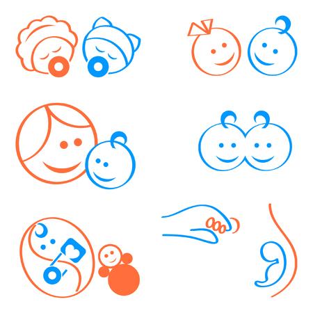 Design-Elemente für Babys, Schwangerschaft, Mutterschaft Logos oder Symbole