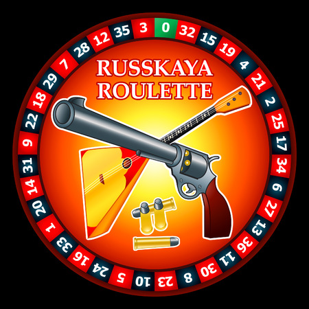 Famous Russian Roulette logo: roulette wheel, gun with bullets and balalaika Vector