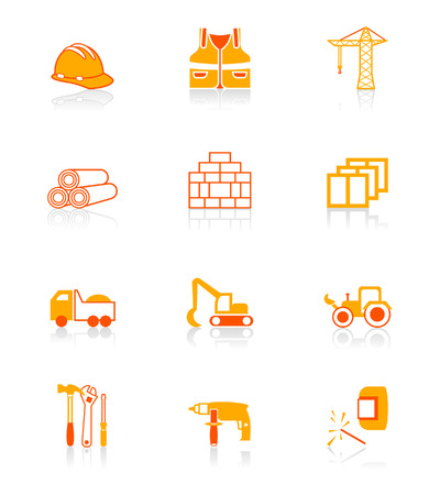 weld: Construction tools, transportation, materials and more icon set in orange. Illustration