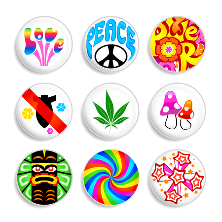 Set of artistic badges with 60x hippie spirit inside. Vector