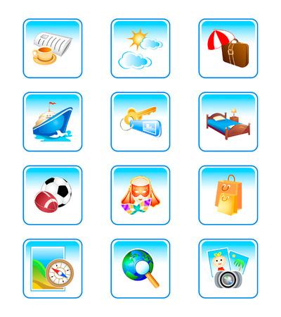 Vacation, travel, holiday objects in colorful icon-set. Stock Vector - 3092319