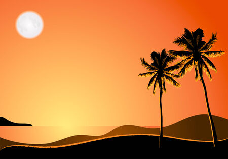 Two palms under moon light at the empty tropical beach Stock Vector - 3099887