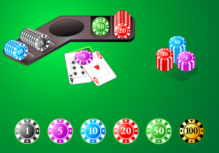 studs: Casino chips for poker, blackjack and other table games Illustration