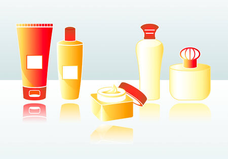 usage: Bodycare cosmetics for everyday usage with copy-space Illustration