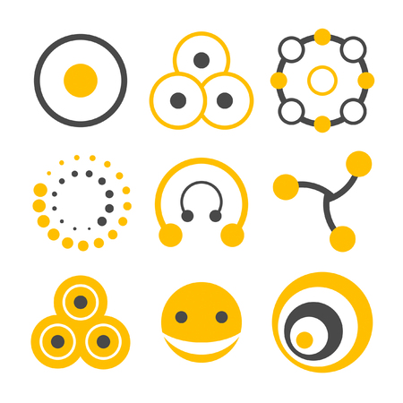 based: Two-colors logo elements collection based on circle shape Illustration