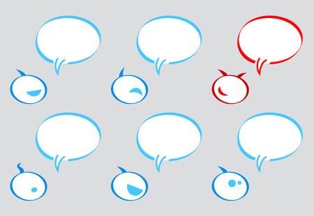 Communication balloons (bubbles) with emoticon bubble character Stock Vector - 3108792