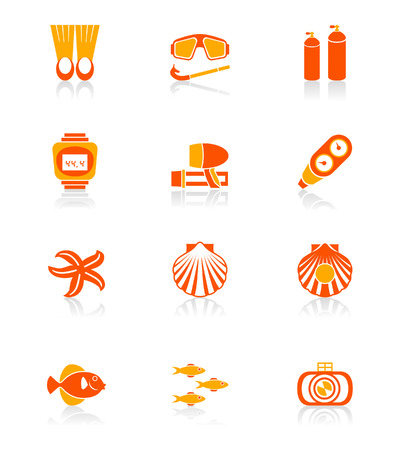 max: Scuba diving objects and underwater life icon set in orange.