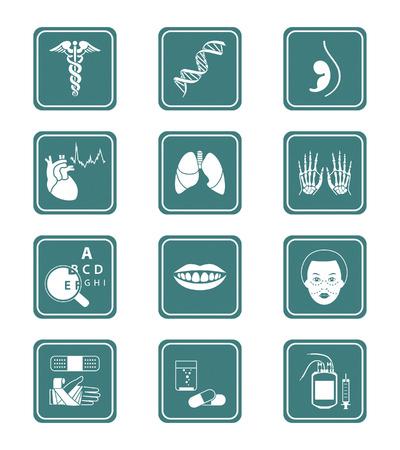 ligotage: Medical symboles, des sp�cialit�s, les organes humains et de soins de sant� objets