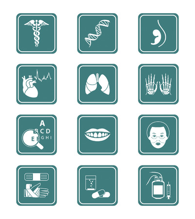 specialities: Medical symbols, specialities, human organs and health-care objects