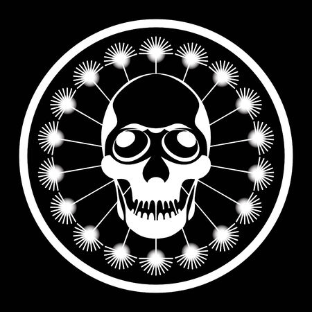 Symbol of man skull inside dandelion circle wishie in black-white Stock Vector - 3138596