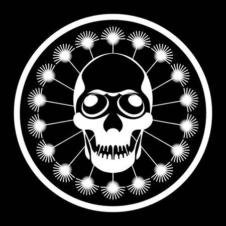 Symbol of man skull inside dandelion circle wishie in black-white Vector