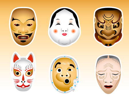 noh: Traditional japanese Noh and Kyogen theater masks Illustration