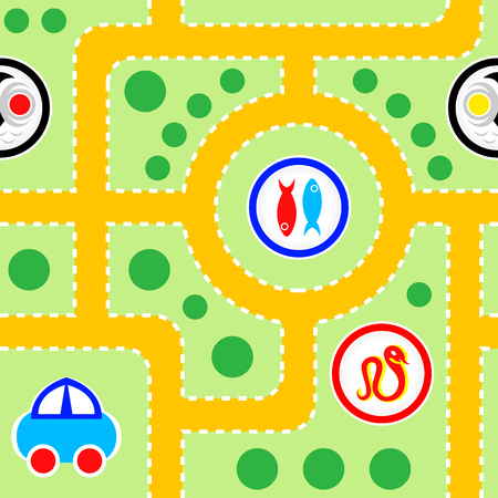 Seamless pattern of kids toy- road with funny signs Vector