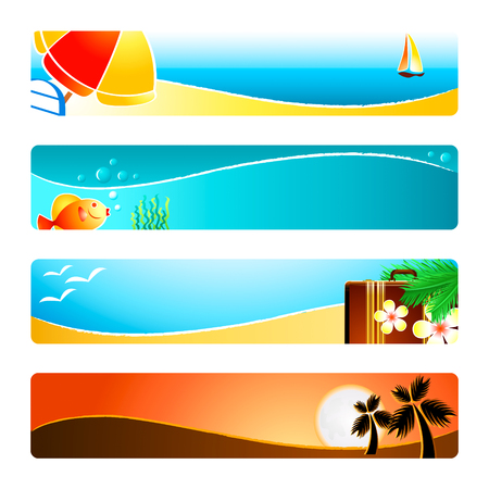 Beach time banner or header 4-color backgrounds set. Vector