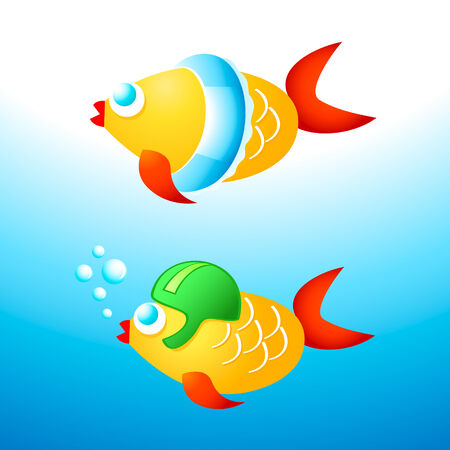 Young fishes learning to swim with helmet and rubber ring Vector