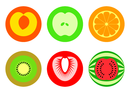 Apple, peach, orange, kiwi, strawberry and watermelon symbols Vector