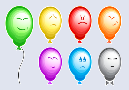 Set of color balloons with typical people emotions Illusztráció