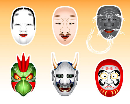 noh: Traditional japanese theater masks - koomote, chujo, kokushikijo, karura, hannya, daruma. Daruma mask is my original design. Illustration