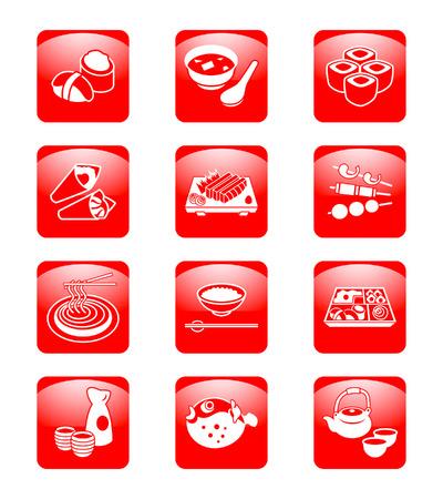 blowfish: Traditional japanese food: sushi, miso, rolls, temaki (hand rolls), sashimi, yakitori (grilled), soba (noodle), gohan (rice), o-bento (lunch box), sake, fugu (blowfish) and green tea set.  Illustration