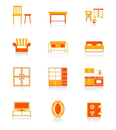 Modern home furniture icon set in red-orange. Illustration