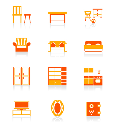 industry electronic: Modern home furniture icon set in red-orange. Illustration