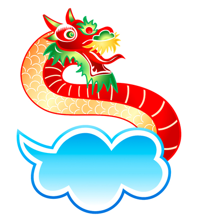 Mystically appearance of the Chinese dragon from cloud Vector
