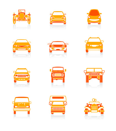 view icon: Modern and vintage cars front view icon set.